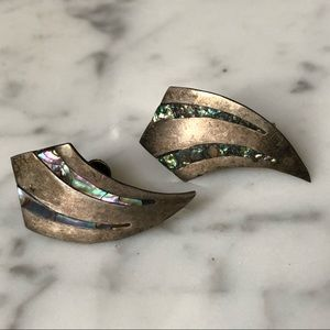🔥 Vintage Alpaca Abalone Screw Back Earrings